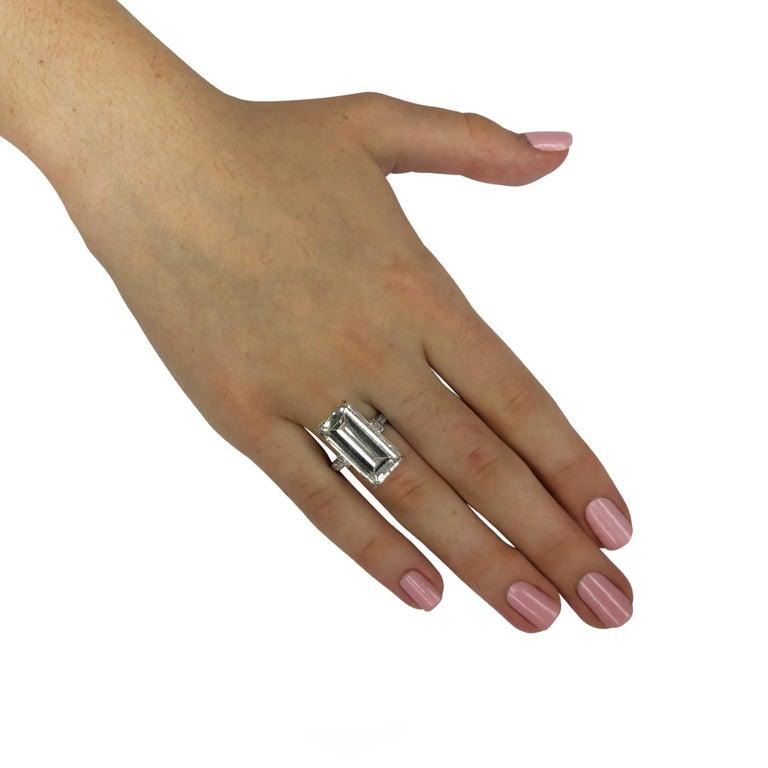 12.84 Carat Emerald Cut Diamond Platinum Engagement Ring In Excellent Condition For Sale In Miami, FL