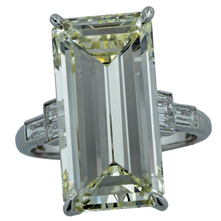 12.84 Carat Emerald Cut Diamond Platinum Engagement Ring For Sale