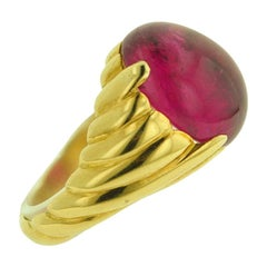 12.87 Carat Rubellite Yellow Gold Ring