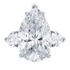 12.88 Carat All GIA Certified Three-Stone Diamond Ring