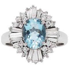 1.29 Carat Aquamarine and Diamond 18 Carat White Gold Ballerina Cluster Ring