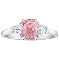 1.29 Carat Cushion Padparadscha Sapphire and Diamond Ring