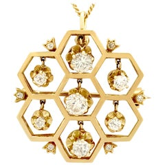 1.29 Carat Diamond and Yellow Gold Pendant or Brooch