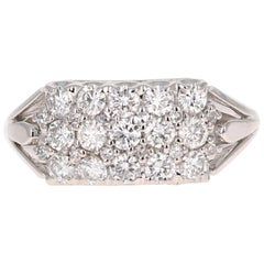 1.29 Carat Diamond Cluster 14 Karat White Gold Ring