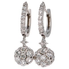 1.29 Carat Diamond Floret Design 14 Karat White Gold Earrings