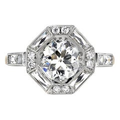 1.29 Carat Old European Cut Diamond Set in an 18 Karat Gold and Platinum Ring
