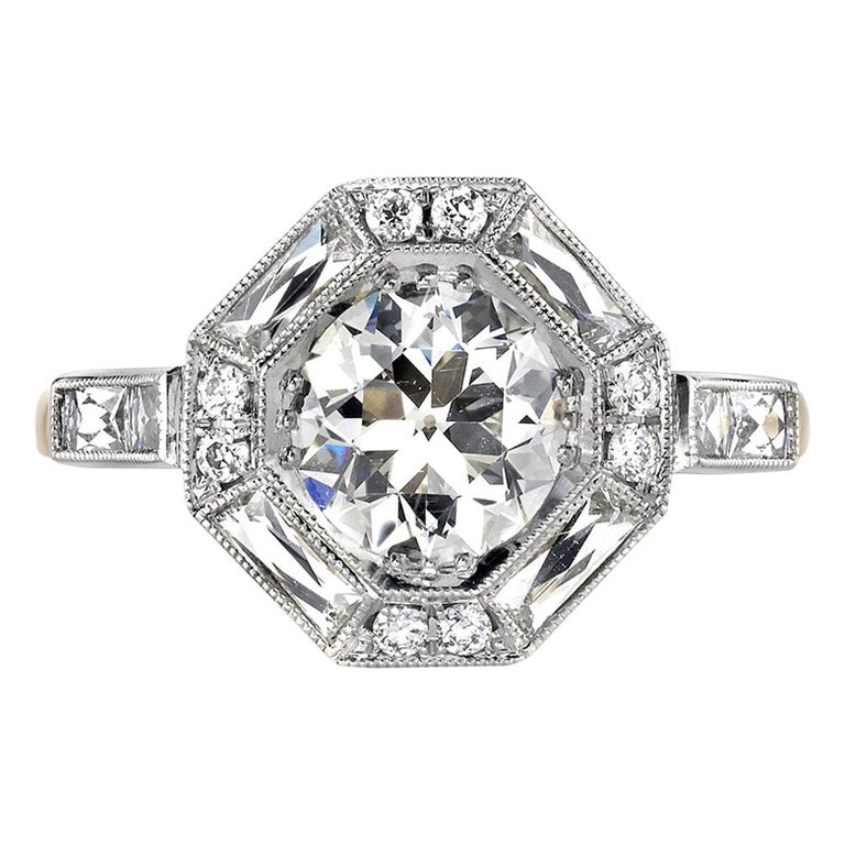 1.29 Carat Old European Cut Diamond Set in an 18K Yellow Gold and Platinum Ring For Sale