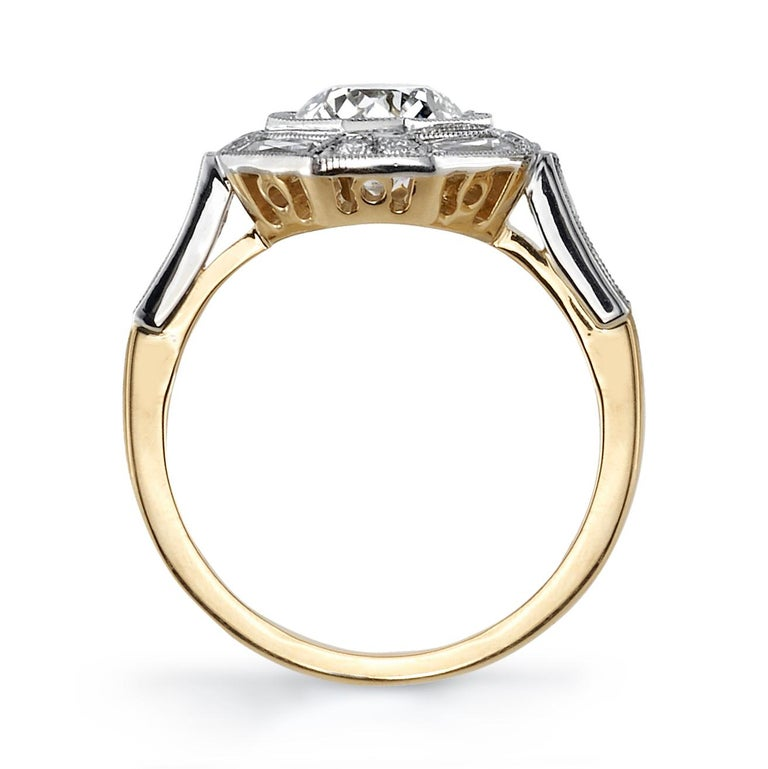 1.29 Carat Old European Cut Diamond Set in an 18K Yellow Gold and Platinum Ring In New Condition For Sale In Los Angeles, CA