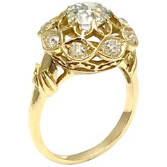 1.29 Carat Old Mine Cut Diamond and 18 Karat Gold Engagement or Fashion Ring