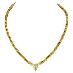 1.29 Carat Pear Shape Single Diamond 18K Yellow Gold Necklace