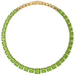 129 Carat Peridot Necklace Bespoke Jewel in 18 Karat Yellow Gold