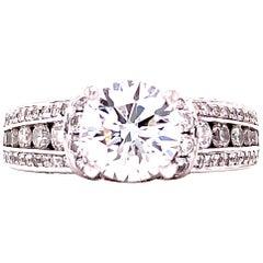 1.29 Carat Round Brilliant Cut Diamond Engagement Ring GIA E/SI2