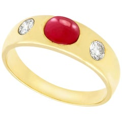 1.29 Carat Ruby and Diamond Yellow Gold Cocktail Ring