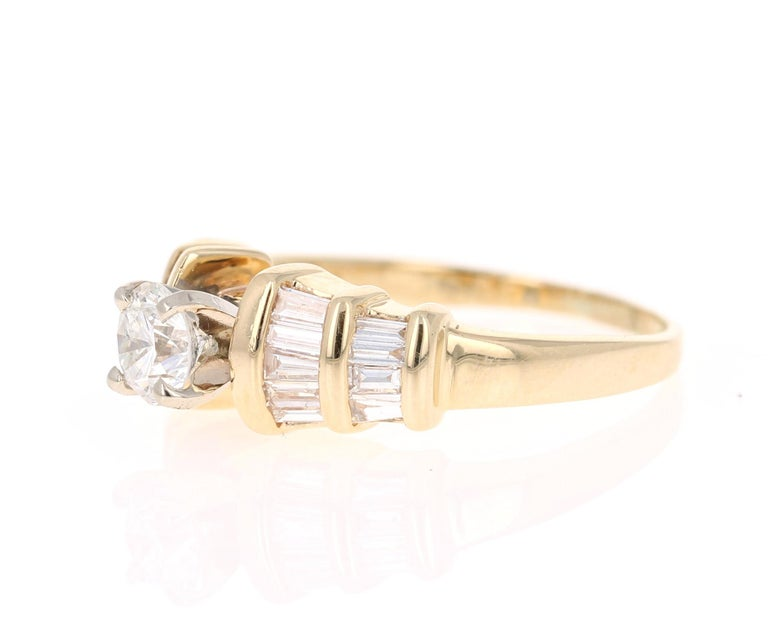 Modern 1.29 Carat Solitaire Diamond 14 Karat Yellow Gold Engagement Ring For Sale