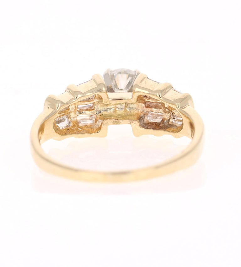 Round Cut 1.29 Carat Solitaire Diamond 14 Karat Yellow Gold Engagement Ring For Sale