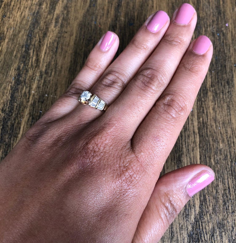 1.29 Carat Solitaire Diamond 14 Karat Yellow Gold Engagement Ring In New Condition For Sale In San Dimas, CA