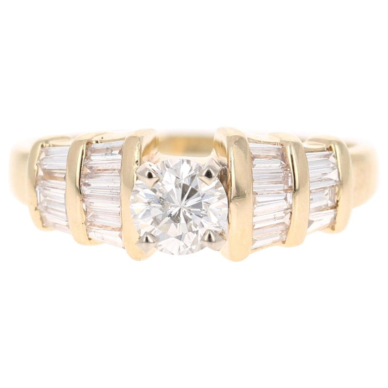1.29 Carat Solitaire Diamond 14 Karat Yellow Gold Engagement Ring For Sale