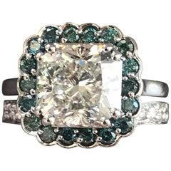 1.29 Carat TW Yellow and White Diamond Ring 14 Karat