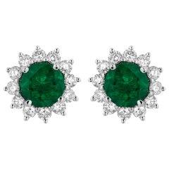 1.29 Carat Zambian Emerald Diamond Earrings
