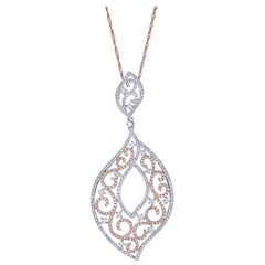 1.29 TCW Diamond accent Ornament Pendant Necklace in 14k Two-Tone Gold