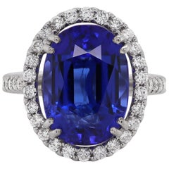 12.90 Carat Oval Tanzanite and Diamond Cocktail Ring