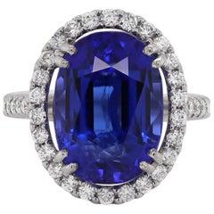 12.90 Carat Oval Tanzanite and Diamond Cocktail Ring
