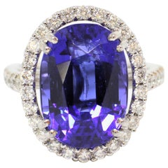12.90 Carat Oval Tanzanite and Diamond Cocktail Ring.