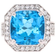 12.92 Carat Blue Topaz Diamond White Gold Cocktail Ring