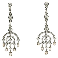 12.93 Carat Deco Style Diamond Drop Earrings