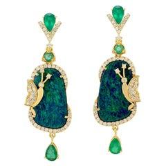 12.93 Carat Opal Emerald Diamond 18 Karat Gold Bee Earrings