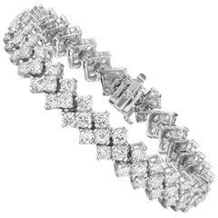 12.95 Carat Triple Row Diamond Bracelet