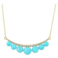 12.95 Carat Turquoise Sphere Diamond 18 Karat Gold Necklace