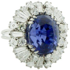 12.96 No Heat Ceylon Important Sapphire and Diamond 1950s Ring in Platinum