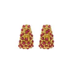 12.98 Carat Vivid Red Ruby 3.78 Carat Vivid Yellow Diamond Dangle Earring