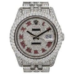 12.99 Carat Rolex 116234 Datejust Stainless Steel Diamond Pave Watch
