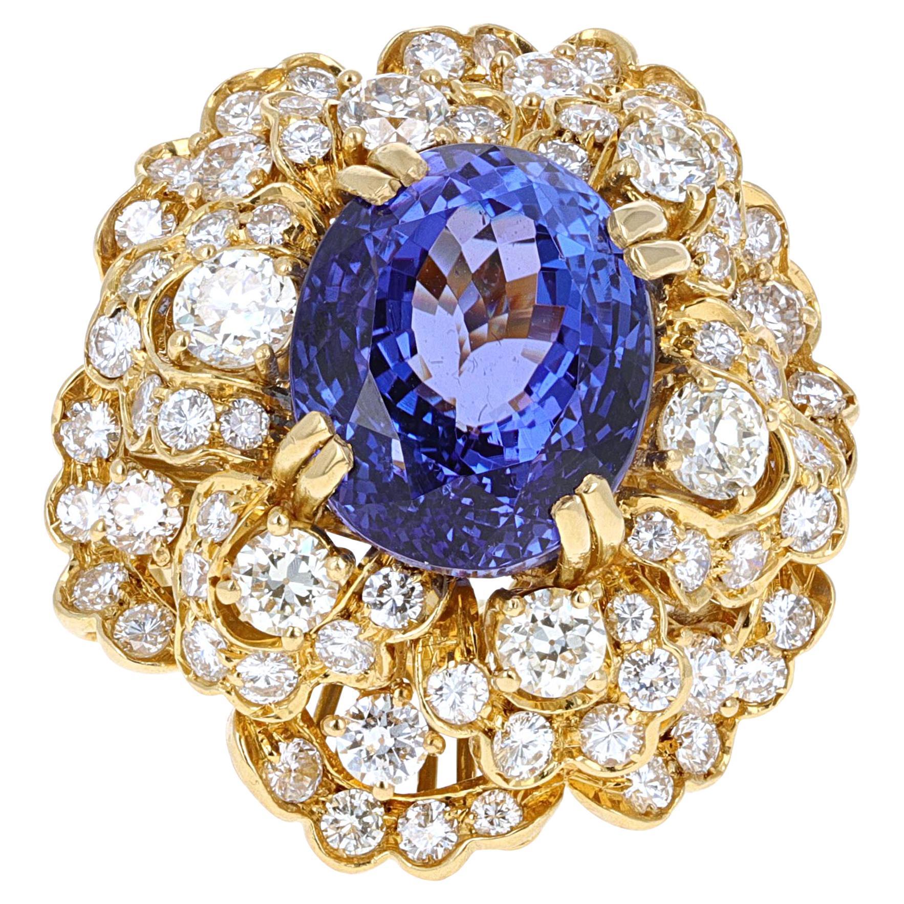 12.99 Carat Tanzanite and Diamond Cocktail Ring