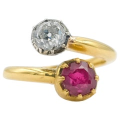 1.29Ct Burmese Un-Heated Ruby with an Old Euro-Cut Diamond Mounted on 22K Gold