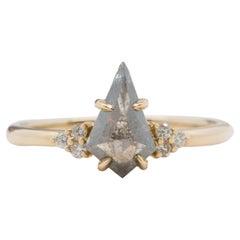 1.29ct Kite Shape Salt and Pepper Diamond 14k Gold Engagement Ring AD2370-2