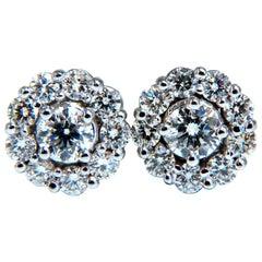 1.29 Carat Natural Diamonds Cluster Cocktail Halo Earrings 14 Karat