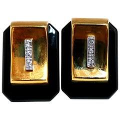 .12ct Diamonds Onyx Clip Earrings 14 Karat Omega Vintage Retro Redux Prime Class