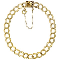 12K Gold Filled Double Link Bracelet with Safety Chain