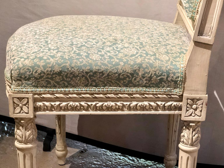 12Paint Decorated Louis XVI Style Side / Dining Chairs, Finely Carved For Sale 7