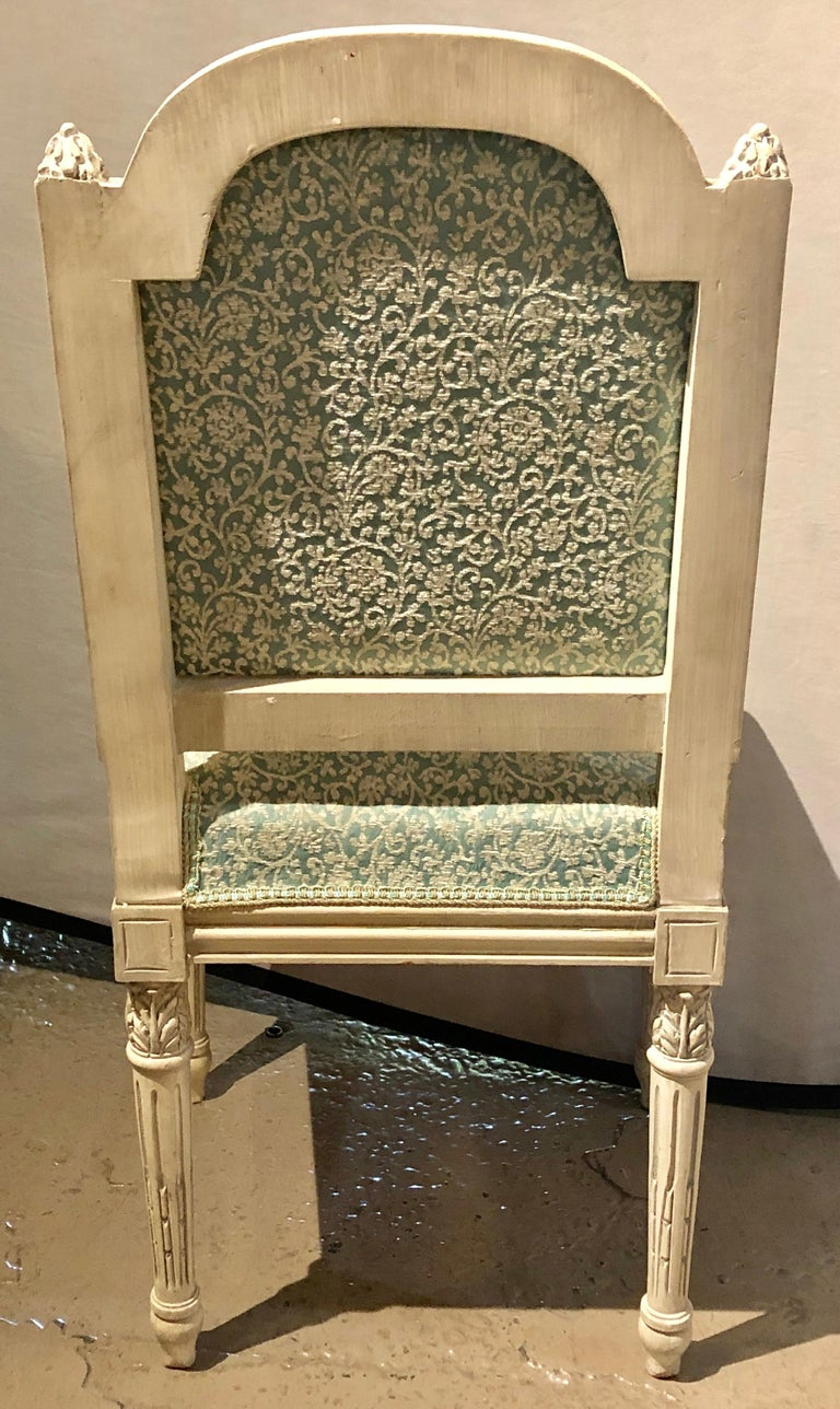 12Paint Decorated Louis XVI Style Side / Dining Chairs, Finely Carved For Sale 8
