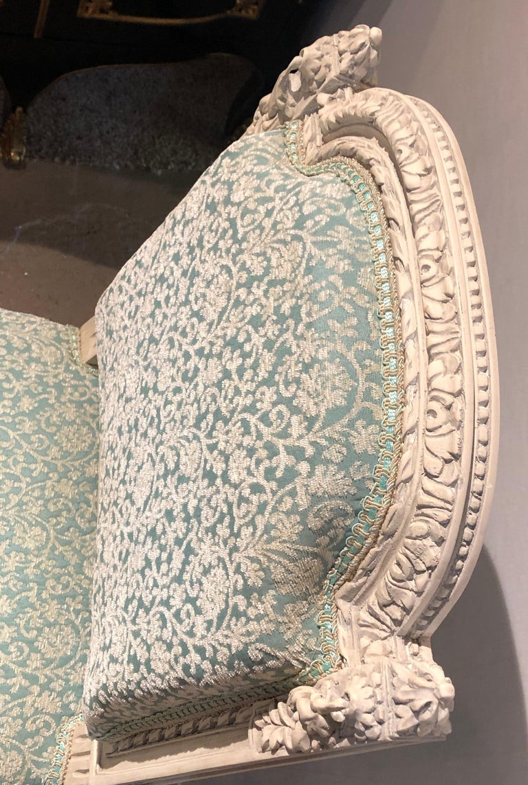 12Paint Decorated Louis XVI Style Side / Dining Chairs, Finely Carved For Sale 9