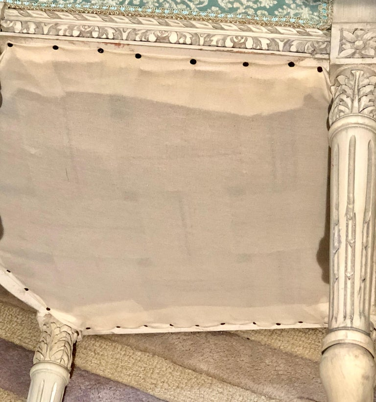 12Paint Decorated Louis XVI Style Side / Dining Chairs, Finely Carved For Sale 11