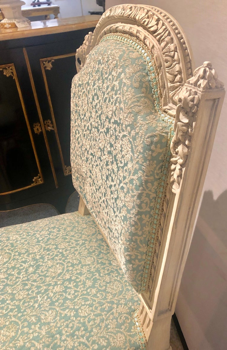 12Paint Decorated Louis XVI Style Side / Dining Chairs, Finely Carved In Good Condition For Sale In Stamford, CT