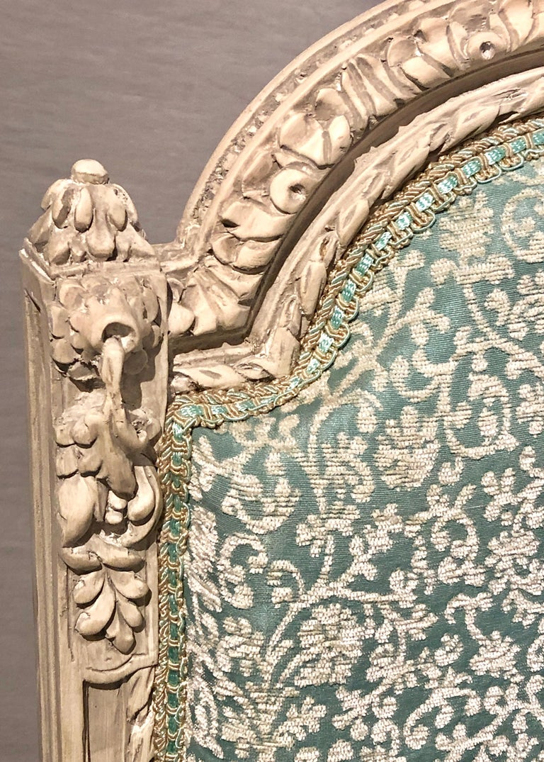 Mid-20th Century 12Paint Decorated Louis XVI Style Side / Dining Chairs, Finely Carved For Sale