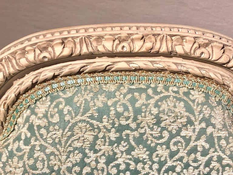 12Paint Decorated Louis XVI Style Side / Dining Chairs, Finely Carved For Sale 1