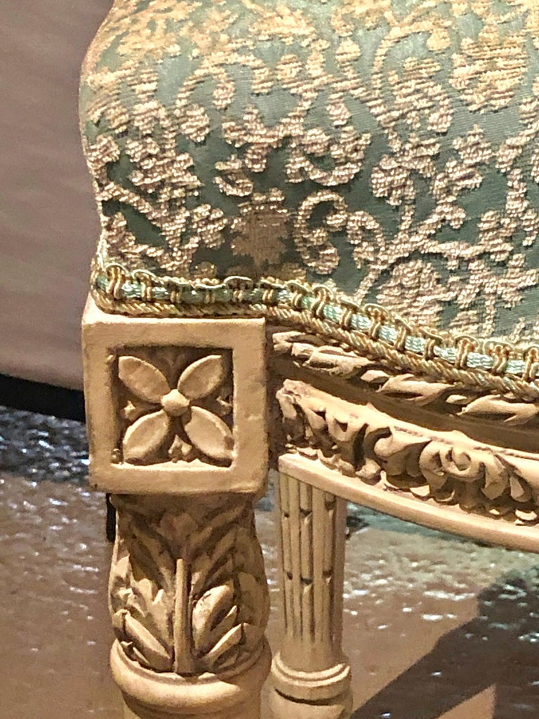 12Paint Decorated Louis XVI Style Side / Dining Chairs, Finely Carved For Sale 4