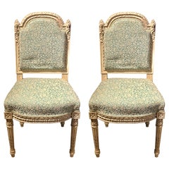12Paint Decorated Louis XVI Style Side / Dining Chairs, Finely Carved